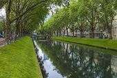Dusseldorf, Germany, on July 6, 2014. Kyonigsalley at sunny summer day. Kenigsalley - one of the cen
