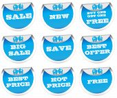 Sale stickers, price tags, labels, blue