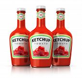 Set of bottles with tomato ketchup