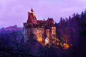 image of dracula  - Bran Castle (Dracula castle) in Transylvania and Wallachia at night Romania ** Note: Soft Focus at 100%, best at smaller sizes - JPG