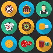 Colorful icon set on a casino theme. Gambling icons, casino icons, money icons