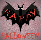 Bat. Happy Halloween Card. Vector Illustration