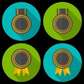 Award Or Badge With Ribbons And Decoration. Modern Flat Style With A Long Shadow.