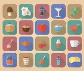 Set Of Food And Drinks Icons. Modern Flat Style With A Long Shadow.
