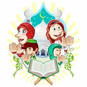pic of fitri  - Moslem Islam Eid Mubarak Celebration Day Greeting Card Illustration - JPG