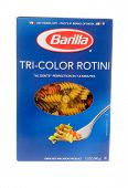 HAYWARD, CA - July 16, 2014:12 oz packet of Barilla brand Tri-color Rotini