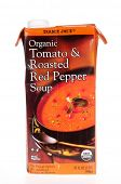HAYWARD, CA - July 16, 2014: 32 oz carton of Trader Joe's Organic Tomato & Roasted Red Pepper Soup
