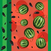 Watermelon and seeds from watermelon.