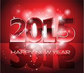 Red 2015 Happy New Year sparkles background card