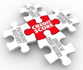 Credit Score words on puzzle pieces as factors in your rating - payment history, age