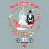 Cute Wedding Invitation With Retro Wedding Wear, Floral Wreath