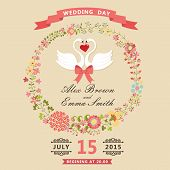 Cute Wedding Invitation With Swans And Floral Wreath