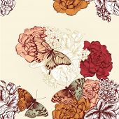 Beautiful Seamless Pattern With Flowers