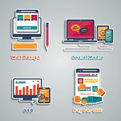 Icons for web design, seo, social media