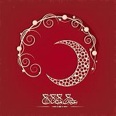 Arabic islamic calligraphy of text Eid Mubarak with golden crescent moon on floral decorated maroon