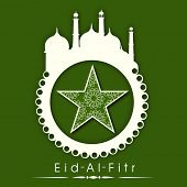 Stylish sticky in mosque shape with floral decorated star on green background for Muslim community f