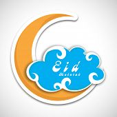 Beautiful blue clouds with yellow crescent moon on grey background for muslim community festival Eid