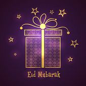 Beautiful gift box on stars decorated purple background for Muslim community festival Eid Mubarak ce