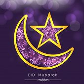 Shiny purple floral design decorated crescent moon and star on shiny background for Eid Mubarak cele
