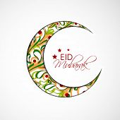 Colorful floral design decorated crescent moon on grey background for muslim community festival Eid