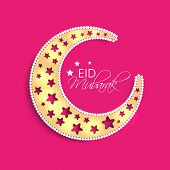 Golden crescent moon design decorated with stars on pink background for Muslim community festival Ei