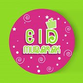 Pink floral design decorated sticky with stylish text Eid Mubarak, Muslim community festival celebra