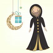 Cute religious muslim girl in traditional islamic outfits with hanging moon and gift box on beige ba