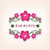 Beautiful greeting card design for Muslim community Eid-Al_Fitr celebrations.
