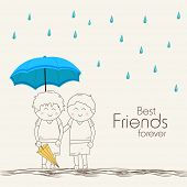 Illustration of cute little kids under blue umbrella on beige background with stylish text Best Frie