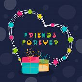 Happy Friendship Day celebrations concept with colorful gift boxes and heart shape on blue backgroun
