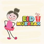 Muslim community festival Eid Mubarak celebrations background with cute little girl and colorful tex