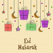 Eid Mubarak celebrations greeting card design with hanging gift boxes, stars and moons on beige back