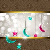 Hanging moon and stars with shiny grey and brown background for Muslim community festival Eid Mubara
