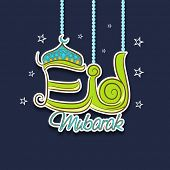 Stylish hanging text Eid Mubarak on stars decorated blue background for muslim community festival ce