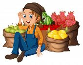 Illustration of a young farmer near his harvested fruits on a white background