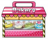 Illustration of a bakery selling baked goodies on a white background
