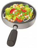 Illustration of a pan with a food on a white background