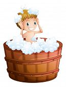 Illustration of a young boy taking a bath at the big bathtub on a white background