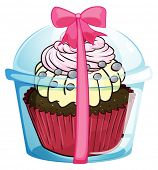 Illustration of a cupcake with a pink ribbon lace on a white background