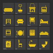 foto of televisor  - Set of furniture silhouettes  and home accessories - JPG
