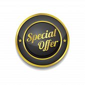 Special Offer Golden Black Vector Icon Button