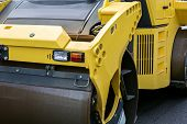 Yellow Road Roller Closeup