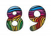 Background Skin Zebra Shaped Number Sight And Nine.eps