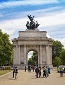 LONDON, UK - JUNE 3, 2014: Mayfair, Triumph Wellington Arch in London