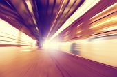 Abstract image of train in motion blur in subway station.