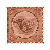 French Horn And Oak Woodcarving Hunting Theme Vector