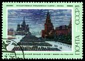 Vintage  Postage Stamp. Parade, Red Square, 1941, By K. F. Yuon.