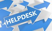 picture of helpdesk  - Helpdesk 3d render concept with blue and white arrows flying over a white background - JPG
