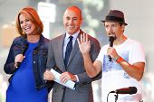 NEW YORK-JUL 18: (L-R) Savannah Guthrie, Matt Lauer and Jason Mraz at NBC's 'Today Show' at Rockefel