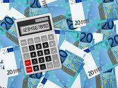 Calculator On Twenty Euro Background